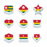 Togo flags icons and button set nine styles Royalty Free Stock Image