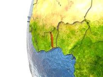 Togo on globe Stock Photography