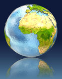 Togo on globe with reflection. Illustration with detailed planet surface. Elements of this image furnished by NASA Royalty Free Stock Photo