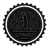 Togo Map Label avec la conception dénommée rétro par vintage Image libre de droits