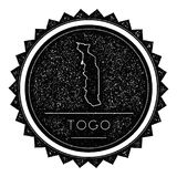Togo Map Label con diseño diseñado vintage retro Libre Illustration