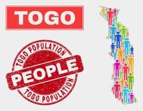 Togo Map Population Demographics e selo riscado do selo ilustração stock