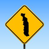 Togo map on road sign. Square poster with Togo country map on yellow rhomb road sign. Vector illustration vector illustration