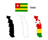 Togo map vector, Togo flag vector, isolated Togo Royalty Free Stock Photography