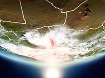 Togo mit Sonne auf Planet Erde Stockfotografie