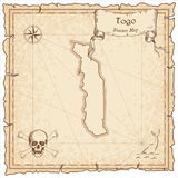 Togo old pirate map. Royalty Free Stock Photo