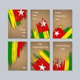 Togo Patriotic Cards per la festa nazionale Immagine Stock Libera da Diritti