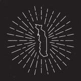 Togo Vector Map Outline avec le rayon de soleil de vintage Image libre de droits