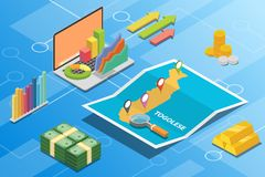 Togolese isometric financial economy condition concept for describe country growth expand - vector. Illustration vector illustration