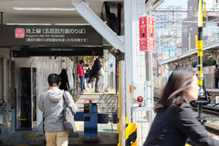 Togoshi-ginza station. TOKYO - MARCH 31, 2016: Area in front of the Togoshi-ginza station on MARCH 30, 2016 in Tokyo. Nearby are Togoshi-Ginza Station on the Royalty Free Stock Photo