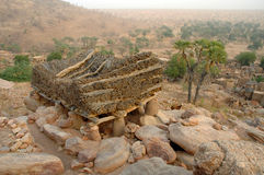 Togu-na overlooking a village in Dogon country Stock Images