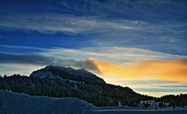 Togwotee Pass Absaroka Mountains at sunset / twilight during the winter in Wyoming. USA Royalty Free Stock Photos