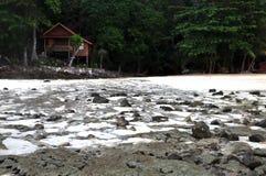 Toh koh beach at lan ti bay of phi phi island. A bungalow at toh koh beach royalty free stock photos
