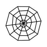 Toile d'araignée rampante au-dessus de l'icône blanche Halloween de fond Vecteur plat de conception Image stock