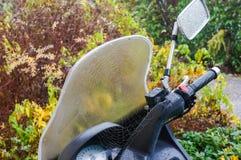 Toile d'araignée sur le scooter Images libres de droits