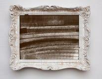 Toile d'expressionisme d'art abstrait dans le cadre de blanc d'antiquité de vintage images stock
