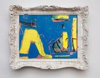 Toile d'expressionisme d'art abstrait dans le cadre de blanc d'antiquité de vintage photos libres de droits