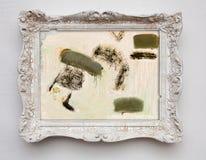 Toile d'expressionisme d'art abstrait dans le cadre de blanc d'antiquité de vintage images libres de droits