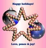 Étoile faite de boules et souhaits de Noël Photo stock