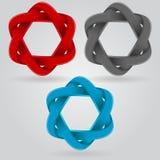 Étoile infinie de ruban, icône faite une boucle de forme de triangle, illustration de vecteur. Images stock