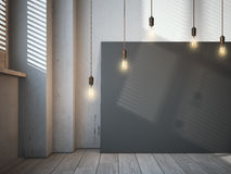 Toile noire vide avec les ampoules rougeoyantes dans l'intérieur de grenier images libres de droits