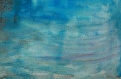 Toile peinte abstraite bleue Photos libres de droits