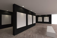 Toile sur le mur noir dans la galerie Photos stock