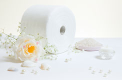 Toiled Paper With Rose and Candle Stock Photography