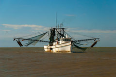 Toiler of the Sea. Shrimp boat returning from the sea in harbor Royalty Free Stock Photography