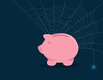 Toiles d'araignée de tirelire photographie stock libre de droits