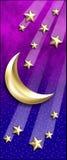 Étoiles d'or de Lune-Tir Images libres de droits