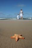 Étoiles de mer et mère avec l'enfant sur la plage Image stock
