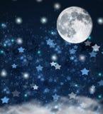 Étoiles de Noël et fond de lune Image libre de droits
