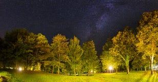 Étoiles de panorama de Plitvice Image stock