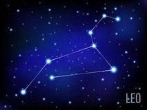 Étoiles lumineuses de signe de Leo Zodiac en cosmos Fond bleu et noir Photographie stock libre de droits