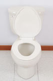 Toilet. With open cover in a bathroom royalty free stock images