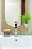 Toilet. A modern hotel toilet with mirror Royalty Free Stock Image