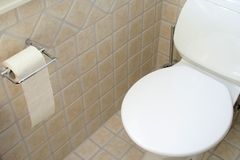 Toilet. And  paper royalty free stock photo