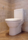 Toilet. A white toilet stands in a room designed the beautiful glazed tile Royalty Free Stock Images