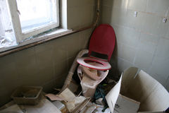 Toilet. Abandoned and very devastated room royalty free stock photography