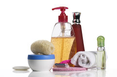 Toilet accessories. Soap, bast, cream, towel, shampoo, spirits and razor Stock Photo