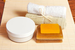 Toilet accessories for body care, spa Royalty Free Stock Photos