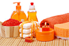 Toilet accessories of orange color Stock Images