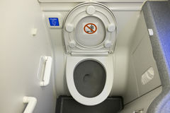 Toilet in airplane. Or aircraft royalty free stock photo