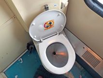 Toilet in airplane stock photography