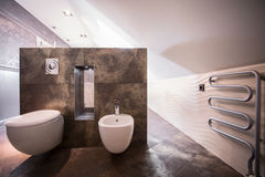 Toilet in the attic. Modern and functional toilet in the attic Royalty Free Stock Photos