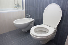 Toilet in the bathroom Royalty Free Stock Photos