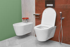 Toilet and bidet in a modern bathroom Royalty Free Stock Photo
