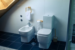 Toilet and Bidet in a Modern Bathroom Royalty Free Stock Image