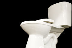 Toilet on black background. Stock Photos